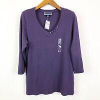Karen Scott Womens 1X Solid Purple V Neck 3/4 Sleeve Casual Knit Top NEW