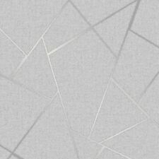 QUARTZ FRACTAL GEOMETRIC METALLIC WALLPAPER - FINE DECOR - GREY & SILVER FD42280