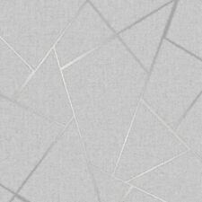 3 X Quartz Metallic Silver Fractal Geometric Glitter Feature Wallpaper FD42280