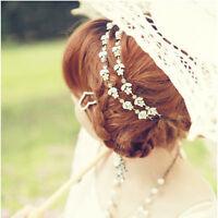 1Pc Elastic Rhinestone Leaf Flowers Headband Hair Band Bridal Wedding Jewelry