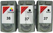 2 x PG-37 & 1 x CL38 Black & Colour 3 Pack Ink for Canon Pixma iP2600 Printers