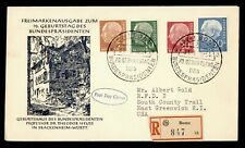DR WHO 1954 GERMANY FDC PORTRAIT COMBO BONN REGISTERED TO USA  g42743