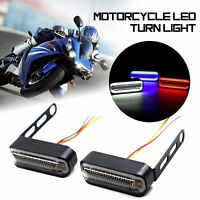 2× Motorcycle LED DRL Flowing Turn Signal Light Stop Signals Water Flasher White
