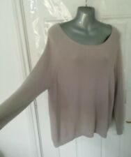 POETRY Ladies Size 14 Beige 100% Cashmere Soft Ribbed Jumper Top Lagenlook