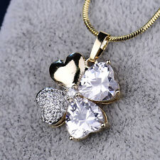 Heart Cut Clear Crystal Clover Grass Pendant Silver & Gold Filled Women Earrings