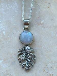 LOVELY STERLING SILVER 925 LARGE RAINBOW MOONSTONE LEAF PENDANT NECKLACE
