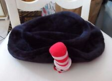 Ladies / Junior black faux fur hat with Cat in Hat on front from Dr Seuss