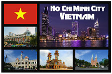 HO CHI MINH CITY, VIETNAM SOUVENIR NOVELTY FRIDGE MAGNET - SIGHTS / FLAG / GIFTS