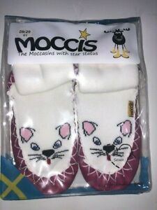Designer Swedish MOCCIS baby slippers girls socks moccasins pink cat kitty NEW