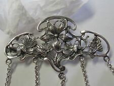 FLORAL ART NOUVEAU  STERLING SILVER CHATELAINE PIN - NEW