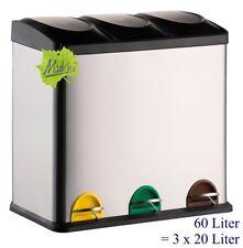 60 Liter Treteimer Mülltrennung Mülleimer Abfalleimer 3x20 L, orig. Made for us®