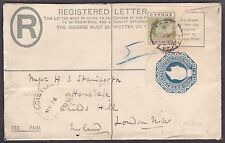 CYPRUS KEVII 1904 REGISTERED POSTAL STATIONERY TO GB 4 PIA STAMP ONLY KNOWN USE
