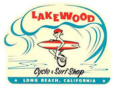 Lakewood - Cycle & Surf Shop Long Beach  California   Vintage Style Travel Decal