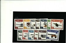 GIBRALTAR - 1987 DEFINITIVES GUNS SET 13 UNMOUNTED MINT