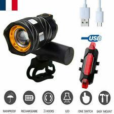 T6 Phare avant LED lumière de Lampe vélo Frontale headlamp +feu arrière USB