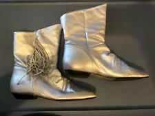 Vintage Metalic Silver Boots Size 7 Fringe Preowned Diesse Made In Brazil