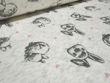 Stoff Alpenfleece Sweatshirtstoff Hasen Herzen wollweiß rosa grau