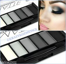 TECHNIC - MATTE SMOKEY - 6 Shade Eyeshadow Palette - BLACK - GREY - WHITE -
