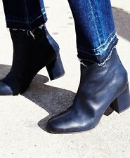 Free People Cecile Navy Blue Leather Ankle Boots 7.5/8 38