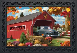"""Harvest Bridge Autumn Doormat Pickup Truck Indoor Outdoor 18""""x30"""" Briarwood Lane"""