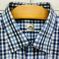 Peter Millar Blue Black Gray White Check Button Front Shirt Mens L