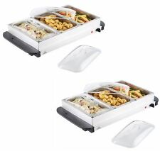 2 x BUFFET WARMER FOOD SERVER 300W STAINLESS STEEL 2.5L PAN LARGE HOT PLATE TRAY