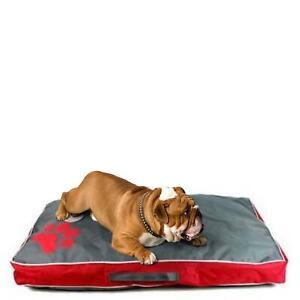 Sweet Dreams  Red and Grey Waterproof Pet Dog Bed Cushion - Medium