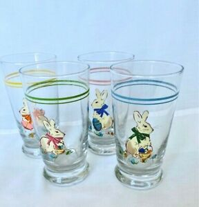 """4 new Williams Sonoma Spring Bunny Glasses Easter Juice Drinking 4 colors 5.25"""""""