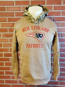 New England Patriots Salute Service Sideline Therma Pullover Hoodie Mens Medium