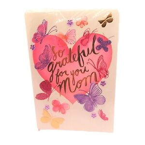 American Greeting Mothers Day Holiday SO GRATEFUL FOR YOU MOM Butterfly Purple