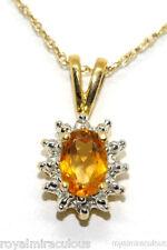 14K Yellow Gold Birthstone Pendant Citrine & Diamond Necklace (November)