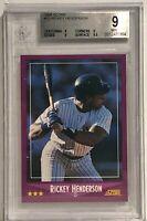 1988 Score #13 Rickey Henderson Beckett Graded 9 New York Yankees