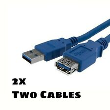 2x - Blue Super Speed USB 3.0 Extension Cable A to A - Male to Female 3ft or 1m