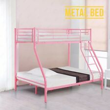 BN Triple Sleeper 3ft Single 4ft6 Double Pink Metal Bunk Bed Frame Furniture