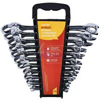 24pce AF and Metric Combination Spanner Set Drop Forged in tool roll