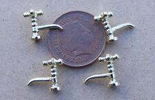 1:12 Casa de muñecas en miniatura accesorios Repuestos 4 Metal grifos grifos de bronce oro