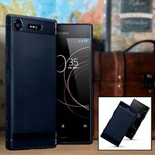Sony Xperia XZ1 Case desplazamiento de impacto Compuesto Fibra De Carbono Diseño Azul