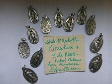 Lot de 12 ancienne medaille MIRACULEUSE + M. de Marie métal avec anneaux 24 x 13