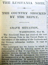 <1915 WW I newspaper GERMANY justifies SINKING OF LUSITANIA Ship Carrying Ammo