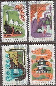 Scott #5307-10 Used Set of 4, Dragons (Off Paper)