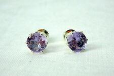 Pink Lilac 4mm CZ Cubic Zirconia Rhinestone Women's Mens Round Stud Earrings