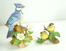 Vintage Lefton Birds Porcelain Hand Painted Figurines Blue Jay Finches 1990s