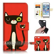 ( For iPod Touch 6 ) Wallet Flip Case Cover AJ40184 Cartoon Cat