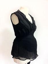 L071/08 Gap Maternity 100% Seda Negro Sleevless Sexy Top, Tamaño S/P