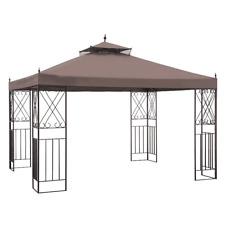 NEW Sunjoy Khaki Metal Gazebo Rectangle 12x10 2 Tier Roof A101012100