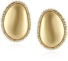 Roberto Coin 18K Yellow Gold Pebble Satin Oval Elegant Post Stud Earrings