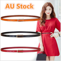 Ladies Slim Fashion Waist Belt Strap Dress Thin Skinny Leather Belt Women New AU
