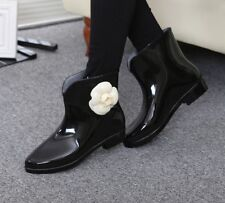 Womens Rain Ankle Boots Waterproof Black with white Flower Spring 2019 7.5 Fr Sh