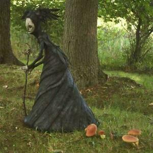 Halloween Resin Witch Statue Ornament Crafts Outdoor Garden Patio Decoration