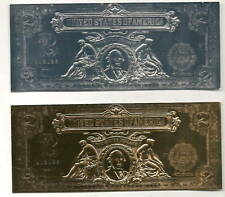1899 $2 Gold & Silver Plated Fantasy Notes - Two Notes